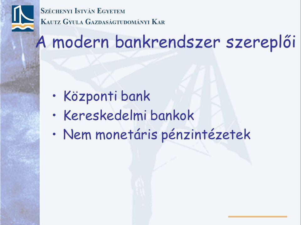 A modern bankrendszer szereplői Központi bank Kereskedelmi bankok Nem monetáris pénzintézetek