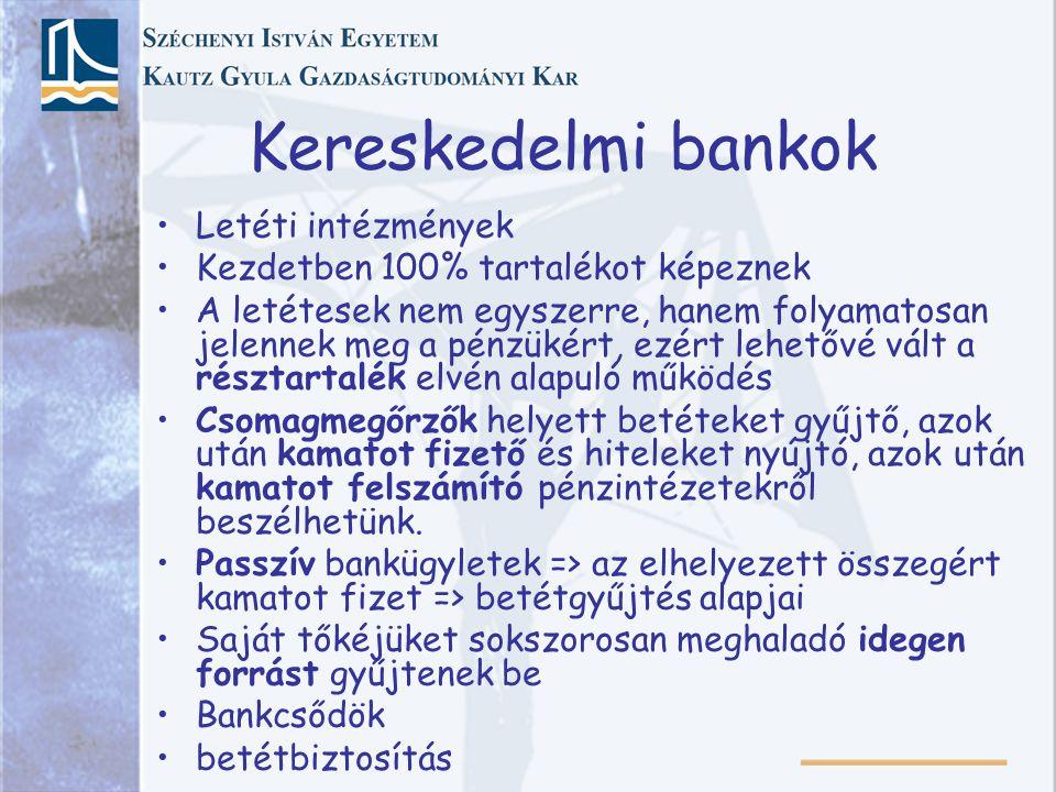 Kereskedelmi bankok Letéti intézmények Kezdetben 100% tartalékot képeznek A letétesek nem egyszerre, hanem folyamatosan jelennek meg a pénzükért, ezért lehetővé vált a résztartalék elvén alapuló működés Csomagmegőrzők helyett betéteket gyűjtő, azok után kamatot fizető és hiteleket nyújtó, azok után kamatot felszámító pénzintézetekről beszélhetünk.