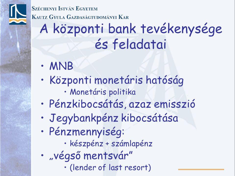"""A központi bank tevékenysége és feladatai MNB Központi monetáris hatóság Monetáris politika Pénzkibocsátás, azaz emisszió Jegybankpénz kibocsátása Pénzmennyiség: készpénz + számlapénz """"végső mentsvár (lender of last resort)"""