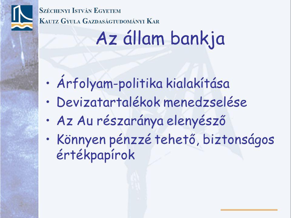 Az állam bankja Árfolyam-politika kialakítása Devizatartalékok menedzselése Az Au részaránya elenyésző Könnyen pénzzé tehető, biztonságos értékpapírok