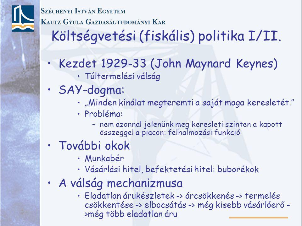 """Költségvetési (fiskális) politika I/II. Kezdet 1929-33 (John Maynard Keynes) Túltermelési válság SAY-dogma: """"Minden kínálat megteremti a saját maga ke"""