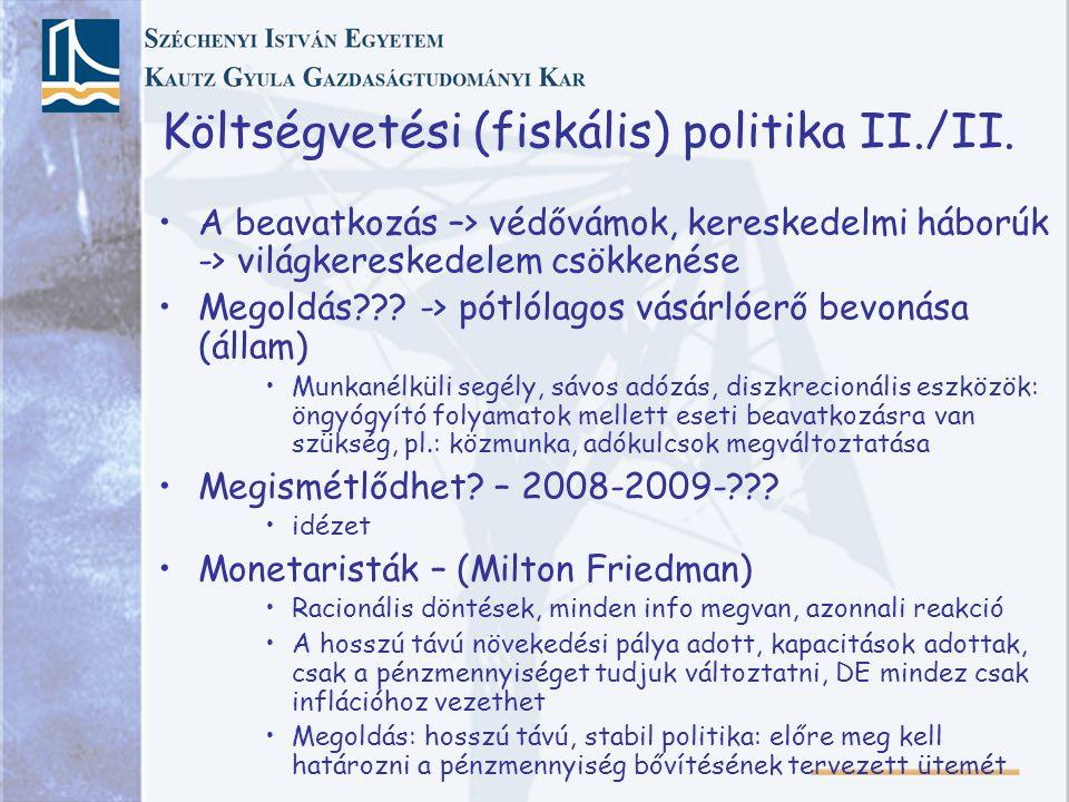 Költségvetési (fiskális) politika II./II.