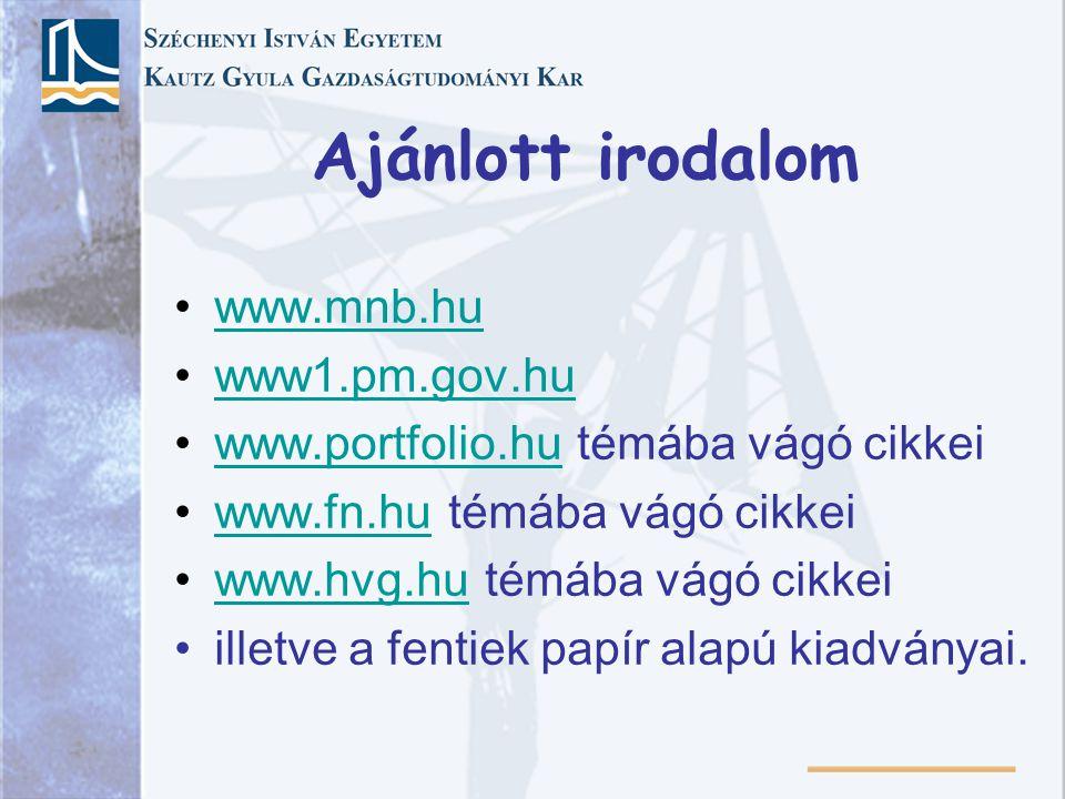 Ajánlott irodalom www.mnb.hu www1.pm.gov.hu www.portfolio.hu témába vágó cikkeiwww.portfolio.hu www.fn.hu témába vágó cikkeiwww.fn.hu www.hvg.hu témáb