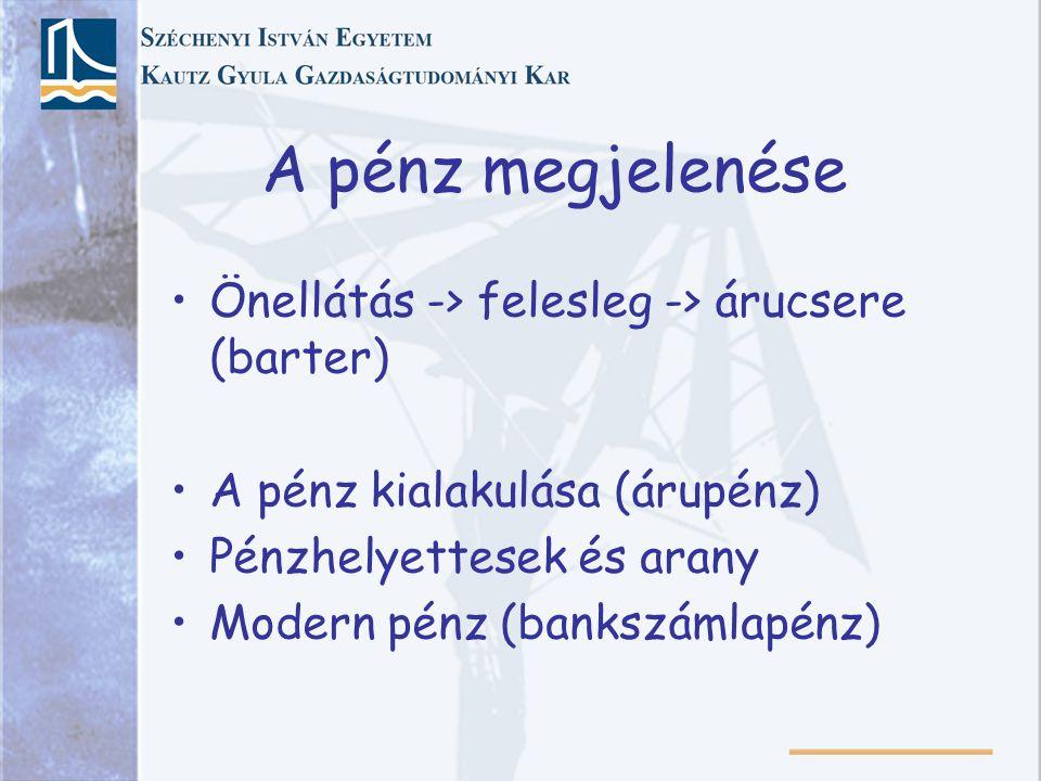 A pénz megjelenése Önellátás -> felesleg -> árucsere (barter) A pénz kialakulása (árupénz) Pénzhelyettesek és arany Modern pénz (bankszámlapénz)