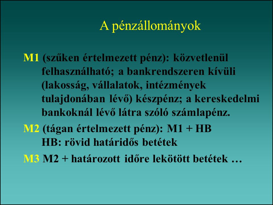 M1 (szűken értelmezett pénz): közvetlenül felhasználható; a bankrendszeren kívüli (lakosság, vállalatok, intézmények tulajdonában lévő) készpénz; a ke
