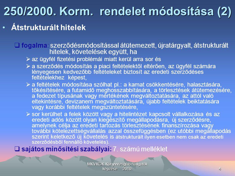 MKVKOK Könyvvizsgáló hallgatók képzése 2010.4 250/2000. Korm. rendelet módosítása (2) Átstrukturált hitelek  fogalma: szerződésmódosítással átütemeze