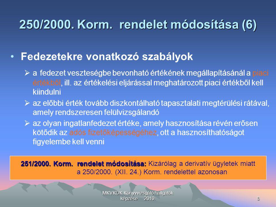 MKVKOK Könyvvizsgáló hallgatók képzése 2010.8 250/2000. Korm. rendelet módosítása (6) Fedezetekre vonatkozó szabályok  a fedezet veszteségbe bevonhat