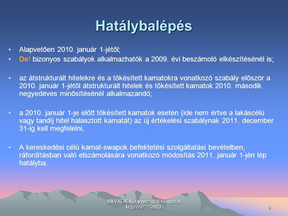 MKVKOK Könyvvizsgáló hallgatók képzése 2010.9 Hatálybalépés Alapvetően 2010.