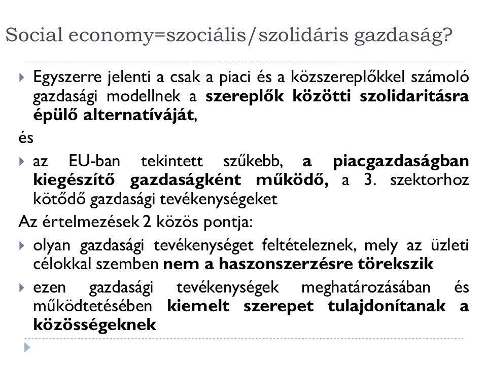 Social economy=szociális/szolidáris gazdaság.