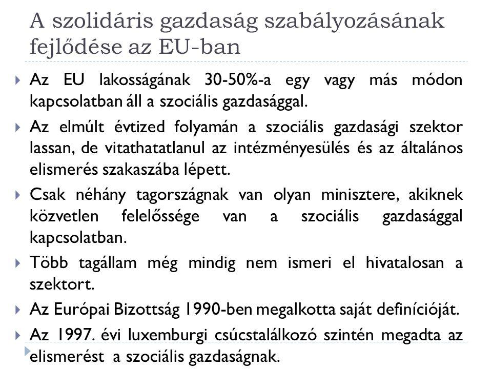A szolidáris gazdaság szabályozásának fejlődése az EU-ban  Az EU lakosságának 30-50%-a egy vagy más módon kapcsolatban áll a szociális gazdasággal.