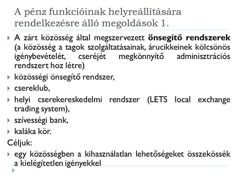 A pénz funkcióinak helyreállítására rendelkezésre álló megoldások 1.