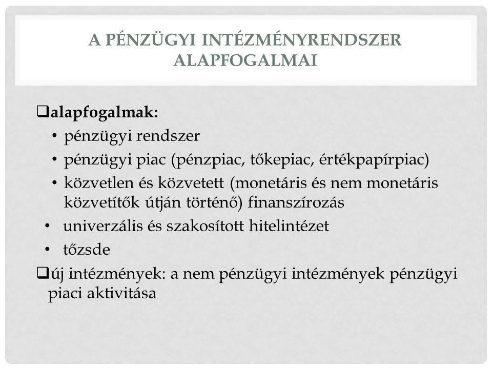 A PÉNZÜGYI INTÉZMÉNYRENDSZER ALAPFOGALMAI  alapfogalmak: pénzügyi rendszer pénzügyi piac (pénzpiac, tőkepiac, értékpapírpiac) közvetlen és közvetett (monetáris és nem monetáris közvetítők útján történő) finanszírozás univerzális és szakosított hitelintézet tőzsde  új intézmények: a nem pénzügyi intézmények pénzügyi piaci aktivitása
