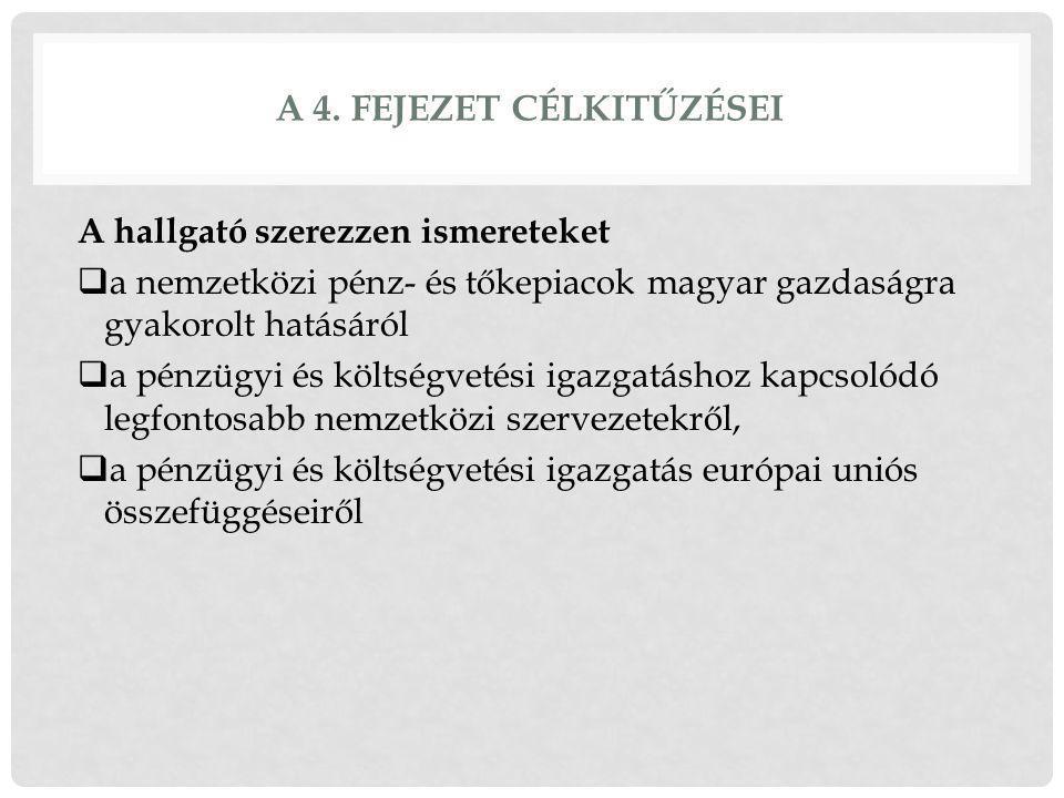 A 4. FEJEZET CÉLKITŰZÉSEI A hallgató szerezzen ismereteket  a nemzetközi pénz- és tőkepiacok magyar gazdaságra gyakorolt hatásáról  a pénzügyi és kö