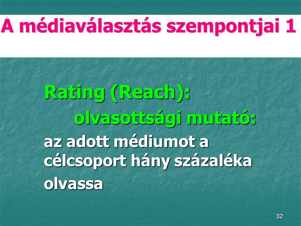 32 A médiaválasztás szempontjai 1 Rating (Reach): olvasottsági mutató: az adott médiumot a célcsoport hány százaléka az adott médiumot a célcsoport hány százaléka olvassa olvassa