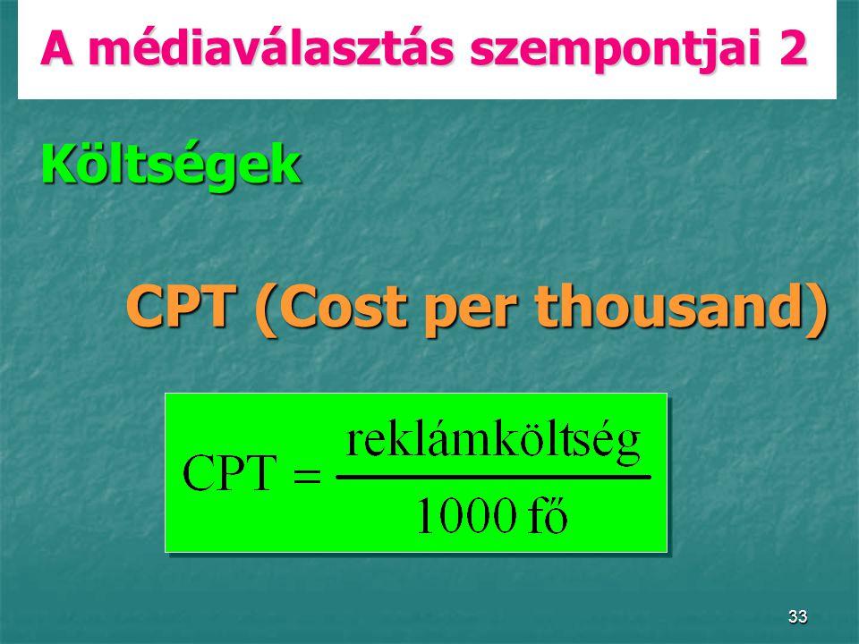 33 A médiaválasztás szempontjai 2 Költségek CPT (Cost per thousand)