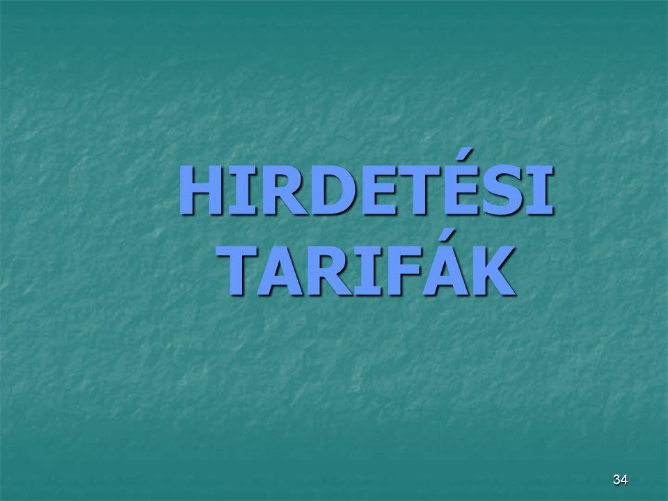 34 HIRDETÉSI TARIFÁK