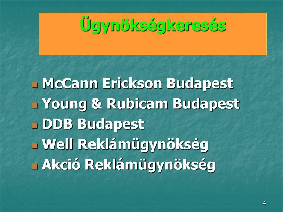 4 Ügynökségkeresés McCann Erickson Budapest McCann Erickson Budapest Young & Rubicam Budapest Young & Rubicam Budapest DDB Budapest DDB Budapest Well Reklámügynökség Well Reklámügynökség Akció Reklámügynökség Akció Reklámügynökség