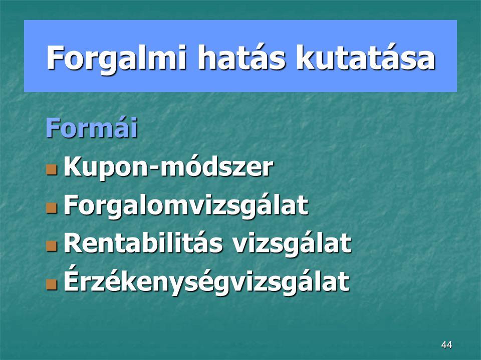 44 Forgalmi hatás kutatása Formái Kupon-módszer Kupon-módszer Forgalomvizsgálat Forgalomvizsgálat Rentabilitás vizsgálat Rentabilitás vizsgálat Érzékenységvizsgálat Érzékenységvizsgálat