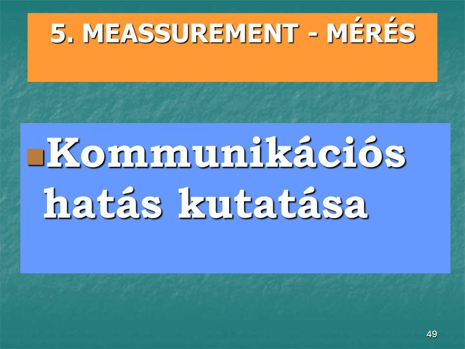 49 5. MEASSUREMENT - MÉRÉS Kommunikációs hatás kutatása Kommunikációs hatás kutatása