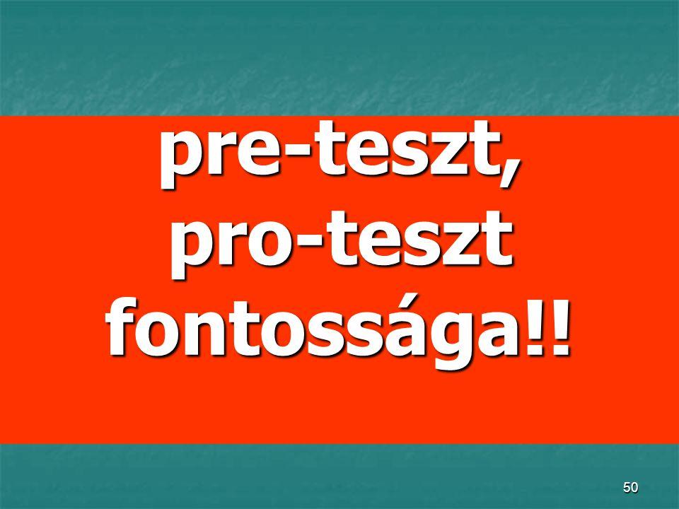 50 pre-teszt, pro-teszt fontossága!!