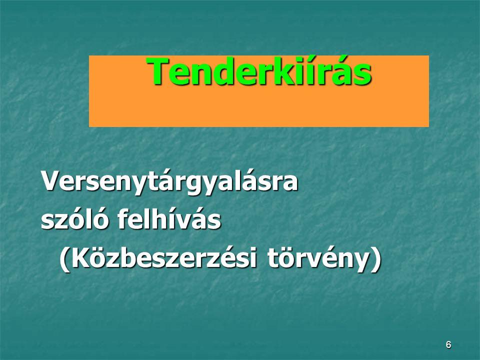 6 Tenderkiírás Versenytárgyalásra szóló felhívás (Közbeszerzési törvény)