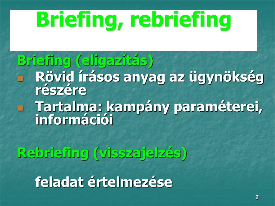 8 Briefing, rebriefing Briefing (eligazítás) Rövid írásos anyag az ügynökség részére Rövid írásos anyag az ügynökség részére Tartalma: kampány paraméterei, információi Tartalma: kampány paraméterei, információi Rebriefing (visszajelzés) feladat értelmezése