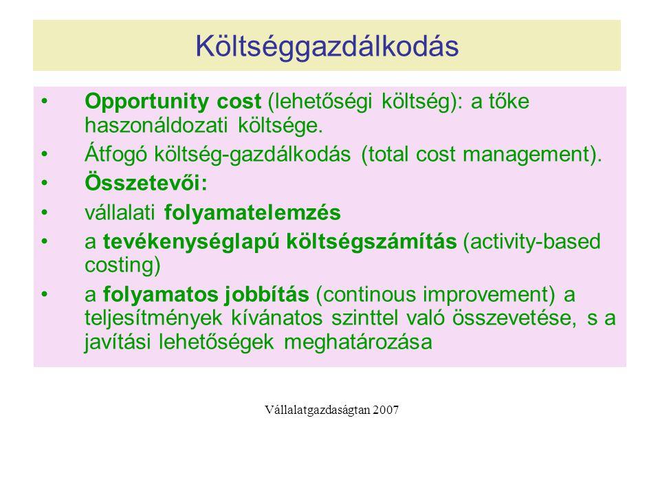 Költséggazdálkodás Opportunity cost (lehetőségi költség): a tőke haszonáldozati költsége.