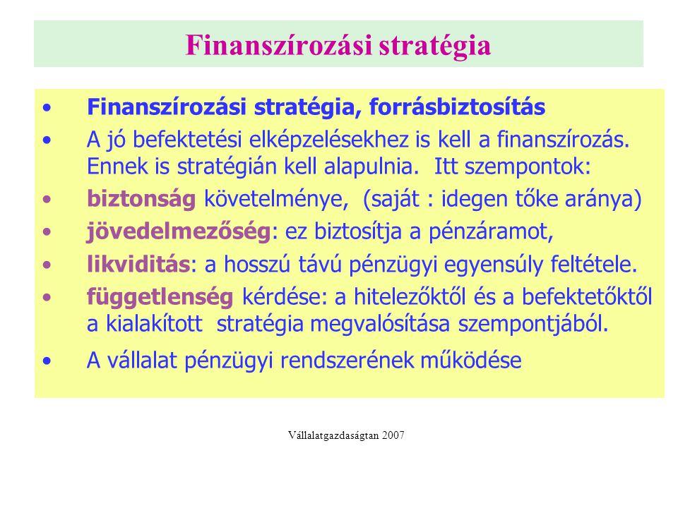 Finanszírozási stratégia Finanszírozási stratégia, forrásbiztosítás A jó befektetési elképzelésekhez is kell a finanszírozás.