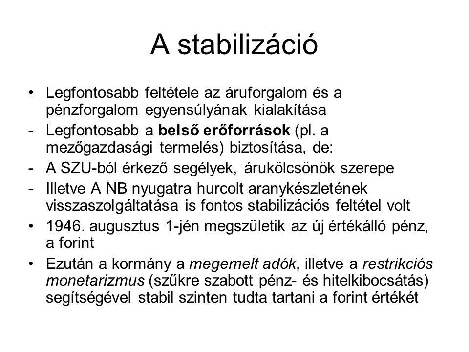 A stabilizáció Legfontosabb feltétele az áruforgalom és a pénzforgalom egyensúlyának kialakítása -Legfontosabb a belső erőforrások (pl. a mezőgazdaság