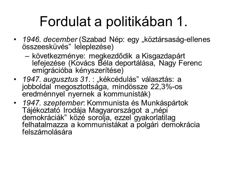"""Fordulat a politikában 1. 1946. december (Szabad Nép: egy """"köztársaság-ellenes összeesküvés"""" leleplezése) –következménye: megkezdődik a Kisgazdapárt l"""
