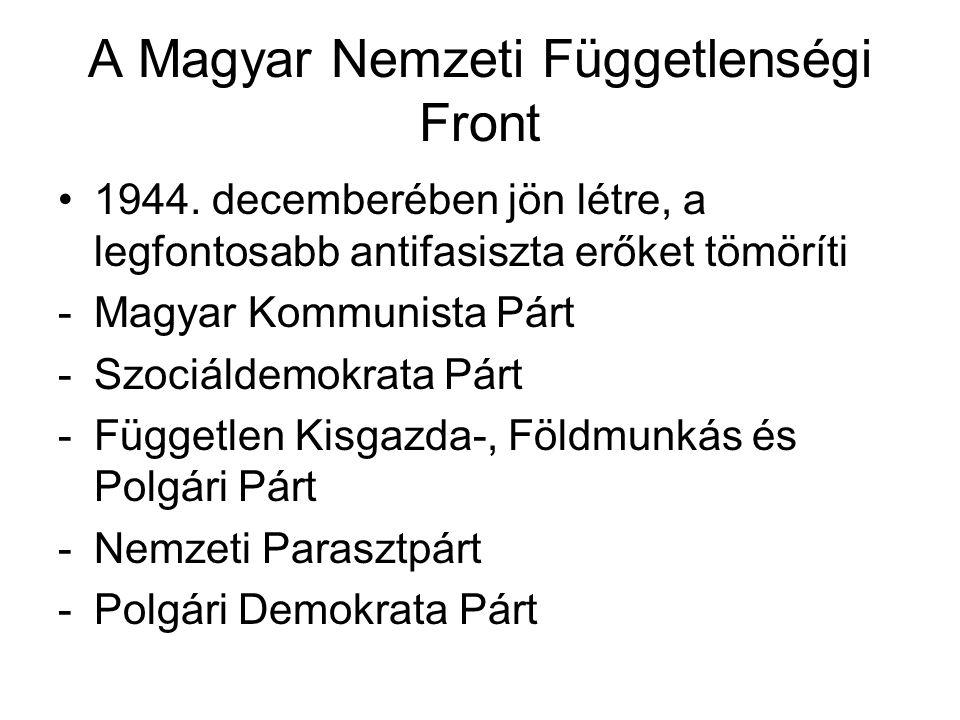 """A Magyar Nemzeti Függetlenségi Front programja -A háborús bűnösök felelősségre vonása: a gyakorlatban együtt járt a német ajkú népesség jelentős részének kitelepítésével (ugyanígy jártak el Csehszlovákiában sok magyar nemzetiségűvel a """"csehszlovák-magyar lakosságcsere-egyezmény keretében) -Radikális földreform -Stratégiai ágazatok (kőolajforrások, bauxit- szén- és ércbányák, villanytelepek) államosítása -Ipar és kereskedelemfejlesztő politika -Államháztartás egyensúlyának megteremtése"""