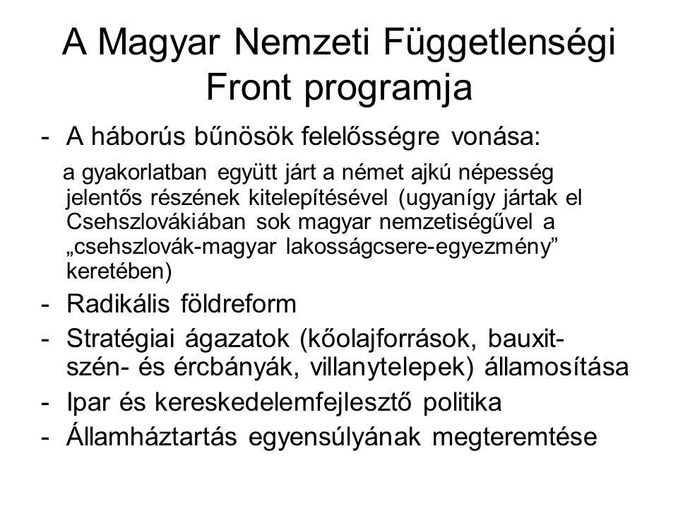 A Magyar Nemzeti Függetlenségi Front programja -A háborús bűnösök felelősségre vonása: a gyakorlatban együtt járt a német ajkú népesség jelentős részé