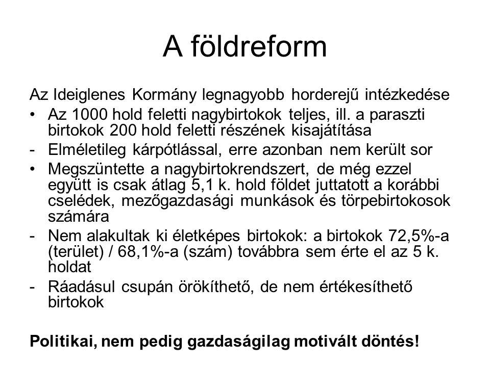 A fontosabb pártok és az 1945-ös választások FKGP: a középbirtokosok, illetve a polgári középrétegek képviselője MKP: a magántulajdon felszámolását (a stratégiai ágazatok kivételével) egyelőre nem vették programba SZDP: a másik munkáspárt elkötelezett a magántulajdon felé, a szocializmust nem forradalom útján kívánja létrehozni NPP: a szegényparasztság képviselője – leginkább ők állnak közel a kommunistákhoz, bár a szovjet típusú termelőszövetkezetekkel egyelőre nem szimpatizálnak 1945.
