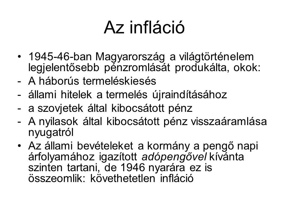 Az infláció 1945-46-ban Magyarország a világtörténelem legjelentősebb pénzromlását produkálta, okok: -A háborús termeléskiesés -állami hitelek a terme