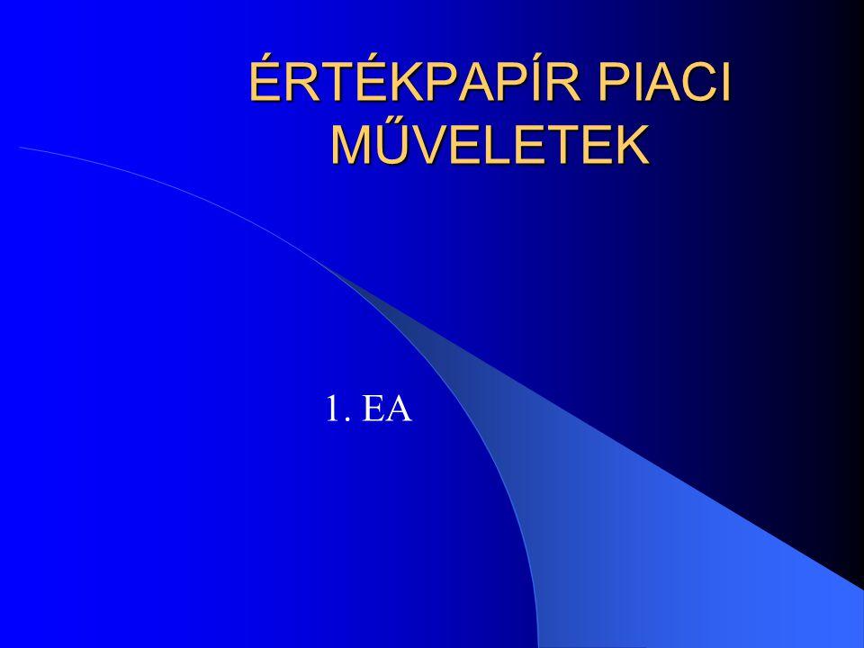 ÉRTÉKPAPÍR PIACI MŰVELETEK 1. EA
