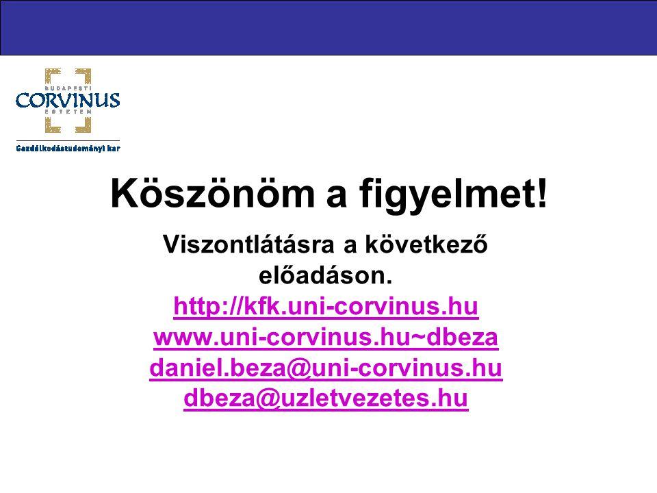 Köszönöm a figyelmet! Viszontlátásra a következő előadáson. http://kfk.uni-corvinus.hu www.uni-corvinus.hu~dbeza daniel.beza@uni-corvinus.hu dbeza@uzl