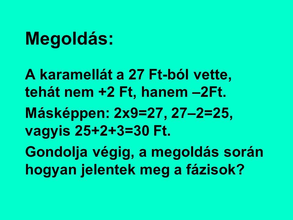Megoldás: A karamellát a 27 Ft-ból vette, tehát nem +2 Ft, hanem –2Ft. Másképpen: 2x9=27, 27–2=25, vagyis 25+2+3=30 Ft. Gondolja végig, a megoldás sor