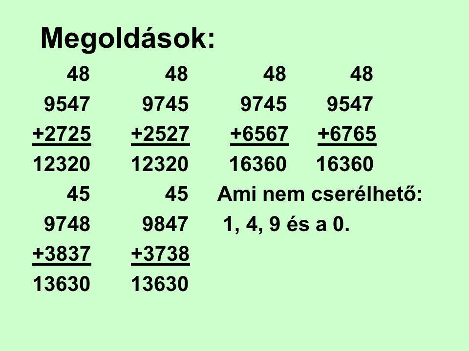 Megoldások: 48 48 48 48 9547 9745 9745 9547 +2725 +2527 +6567 +6765 12320 12320 16360 16360 45 45 Ami nem cserélhető: 9748 9847 1, 4, 9 és a 0. +3837
