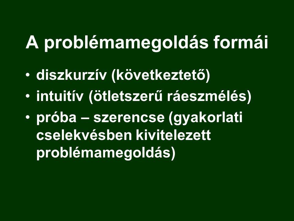 A problémamegoldás formái diszkurzív (következtető) intuitív (ötletszerű ráeszmélés) próba – szerencse (gyakorlati cselekvésben kivitelezett problémam