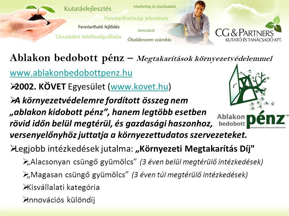 Ablakon bedobott pénz – Megtakarítások környezetvédelemmel www.ablakonbedobottpenz.hu  2002.