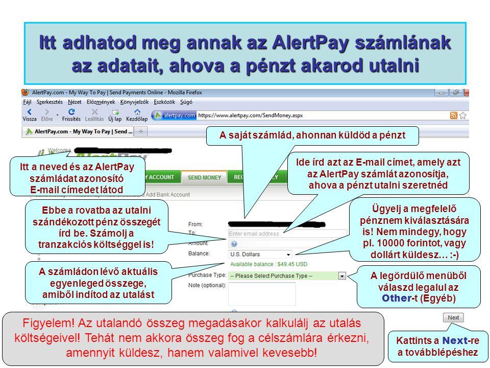 Itt adhatod meg annak az AlertPay számlának az adatait, ahova a pénzt akarod utalni Itt a neved és az AlertPay számládat azonosító E-mail címedet láto