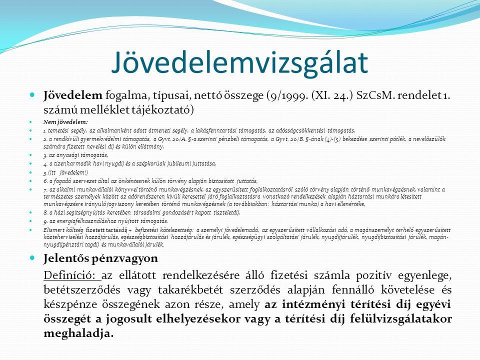Jövedelemvizsgálat Jövedelem fogalma, típusai, nettó összege (9/1999. (XI. 24.) SzCsM. rendelet 1. számú melléklet tájékoztató) Nem jövedelem: 1. teme