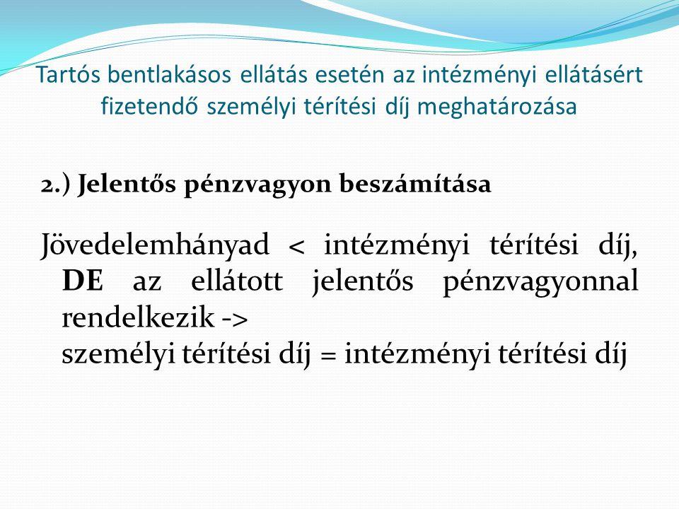 Tartós bentlakásos ellátás esetén az intézményi ellátásért fizetendő személyi térítési díj meghatározása 2.) Jelentős pénzvagyon beszámítása Jövedelem