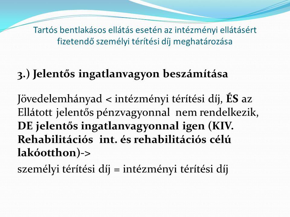 Tartós bentlakásos ellátás esetén az intézményi ellátásért fizetendő személyi térítési díj meghatározása 3.) Jelentős ingatlanvagyon beszámítása Jöved