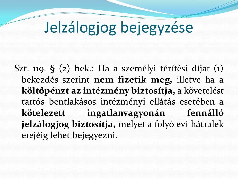 Jelzálogjog bejegyzése Szt. 119. § (2) bek.: Ha a személyi térítési díjat (1) bekezdés szerint nem fizetik meg, illetve ha a költőpénzt az intézmény b