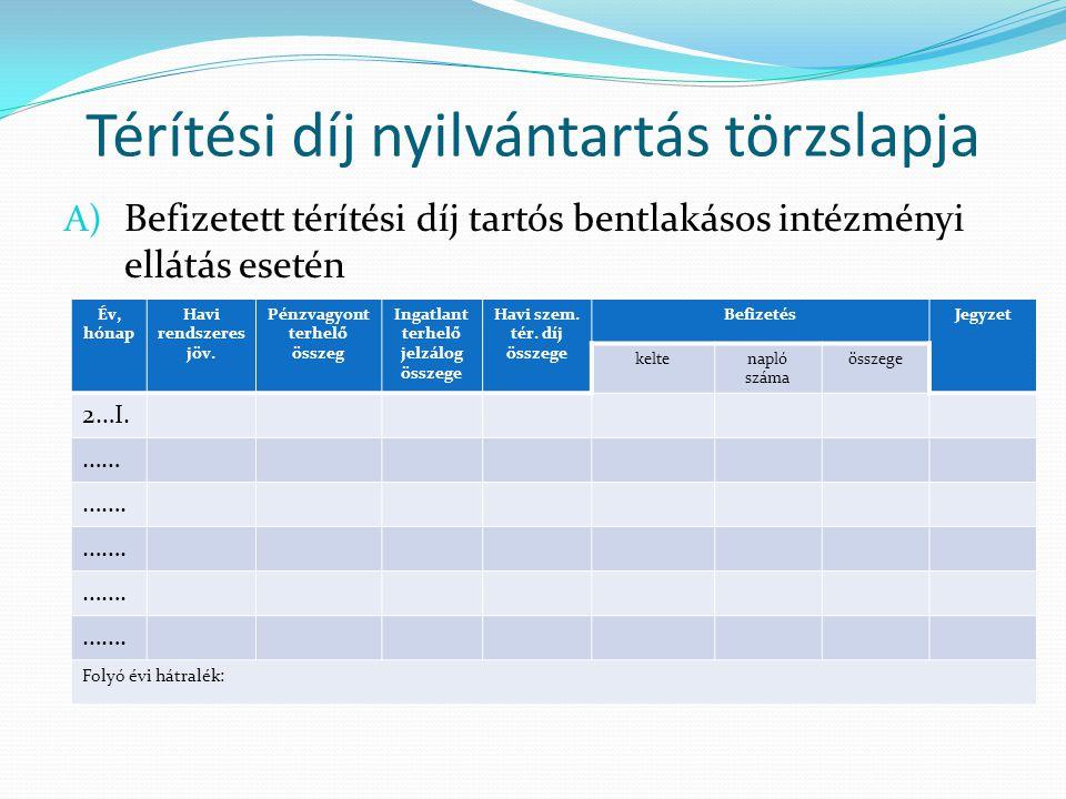 Térítési díj nyilvántartás törzslapja A) Befizetett térítési díj tartós bentlakásos intézményi ellátás esetén Év, hónap Havi rendszeres jöv.