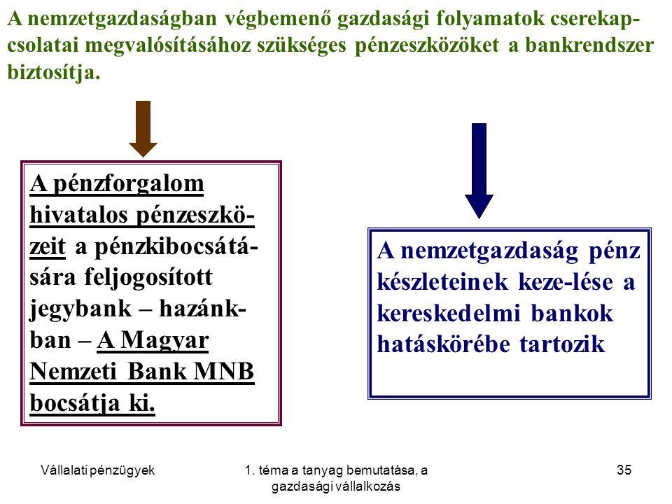 Vállalati pénzügyek1. téma a tanyag bemutatása, a gazdasági vállalkozás 35 A nemzetgazdaságban végbemenő gazdasági folyamatok cserekap- csolatai megva