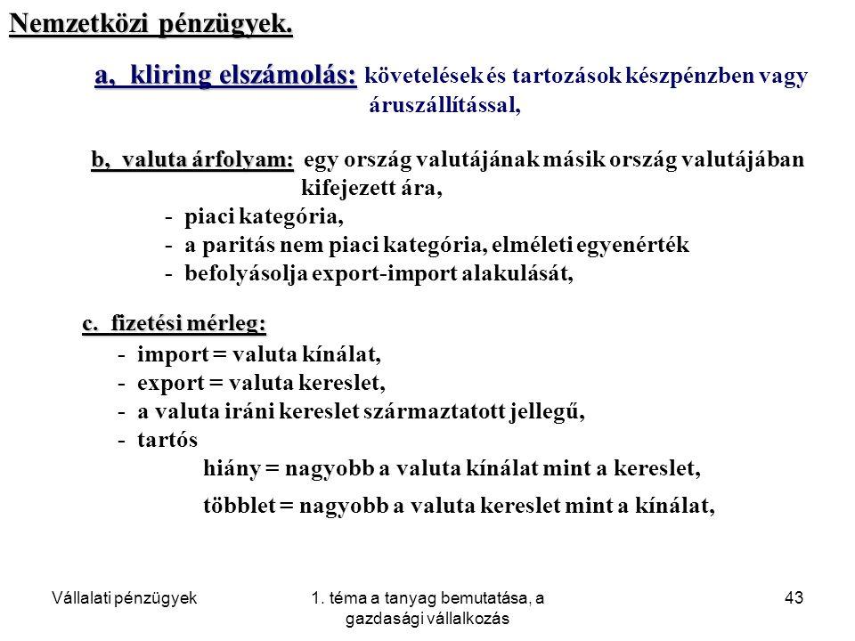 Vállalati pénzügyek1. téma a tanyag bemutatása, a gazdasági vállalkozás 43 a, kliring elszámolás: a, kliring elszámolás: követelések és tartozások kés