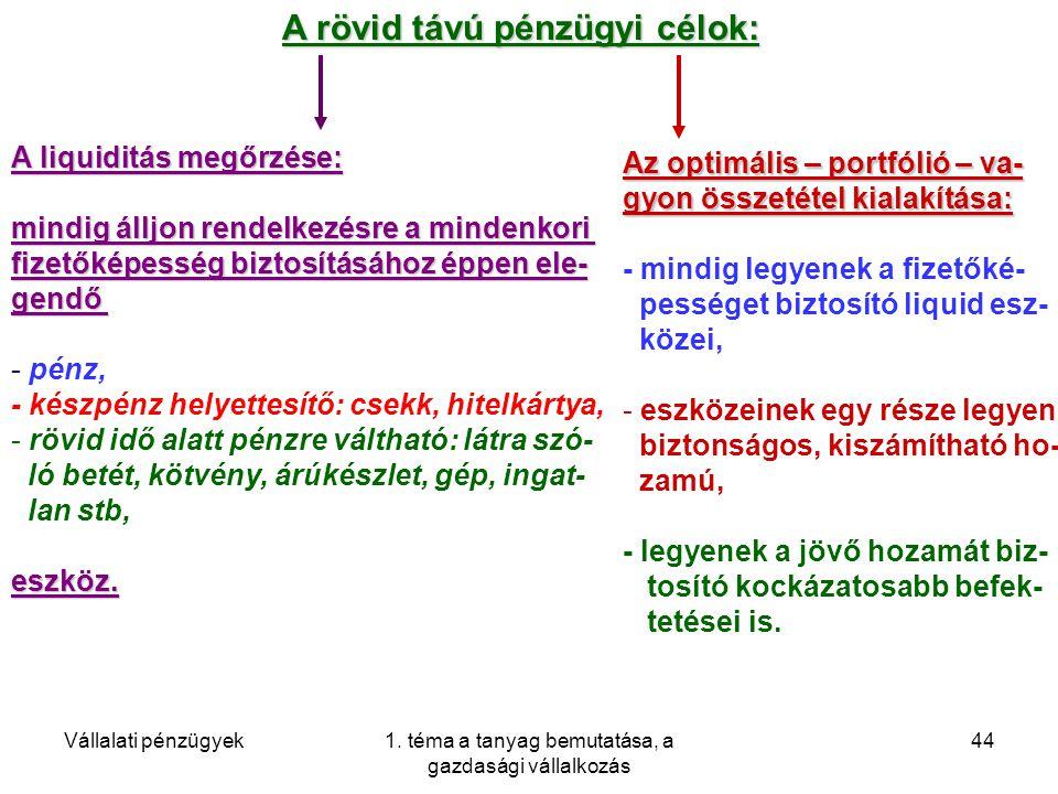 Vállalati pénzügyek1. téma a tanyag bemutatása, a gazdasági vállalkozás 44 A rövid távú pénzügyi célok: A liquiditás megőrzése: mindig álljon rendelke