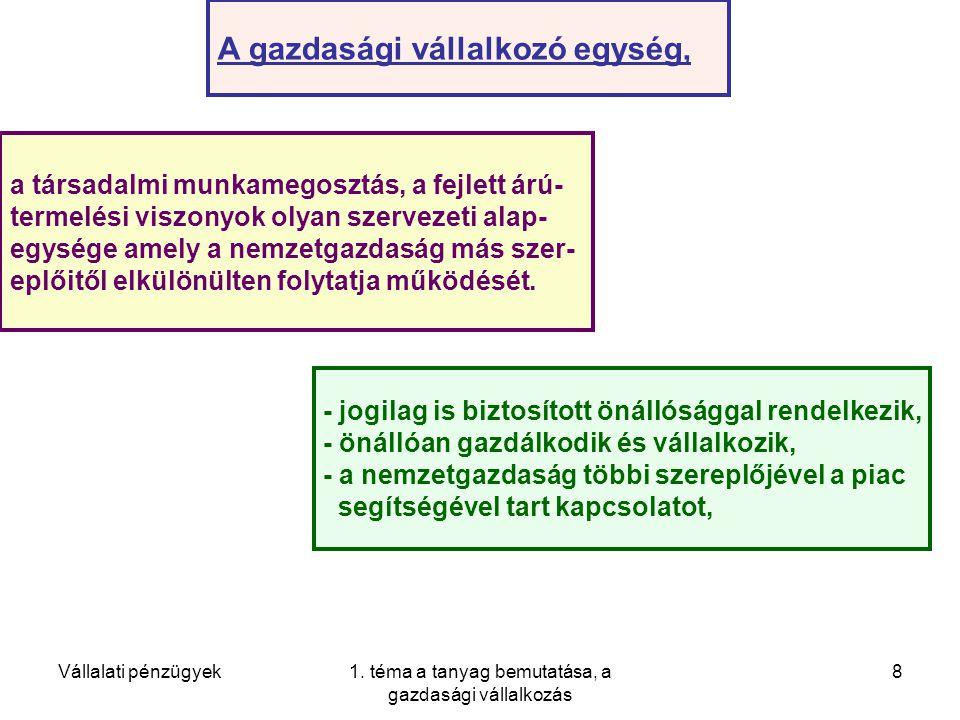 Vállalati pénzügyek1. téma a tanyag bemutatása, a gazdasági vállalkozás 29 Pénz.